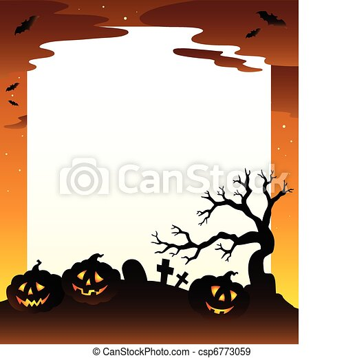 Frame with Halloween scenery 1 - csp6773059
