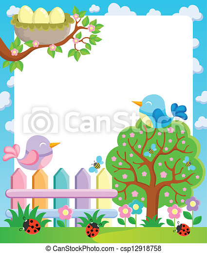 Frame with spring theme 1 - csp12918758