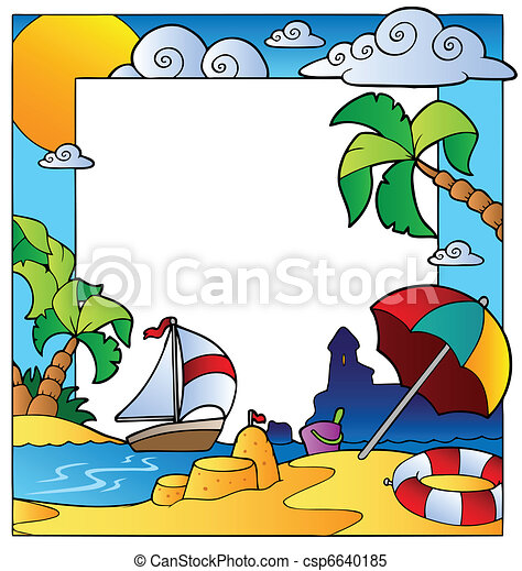Frame with summertime theme 1 - csp6640185
