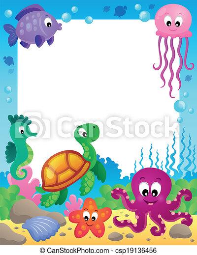 Frame with underwater animals 3 - csp19136456
