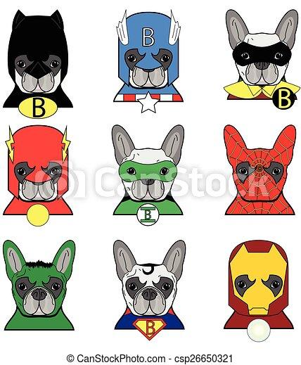 French Bulldog heroes icons - csp26650321