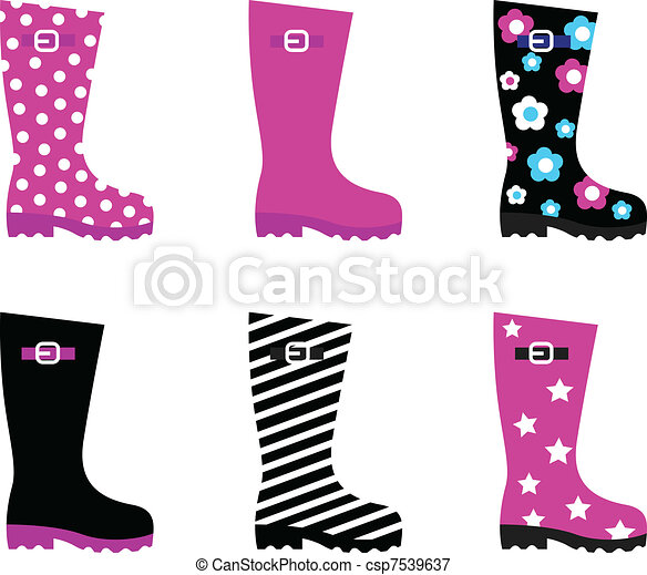 Fresh & colorful rain wellies boots isolated on white - csp7539637