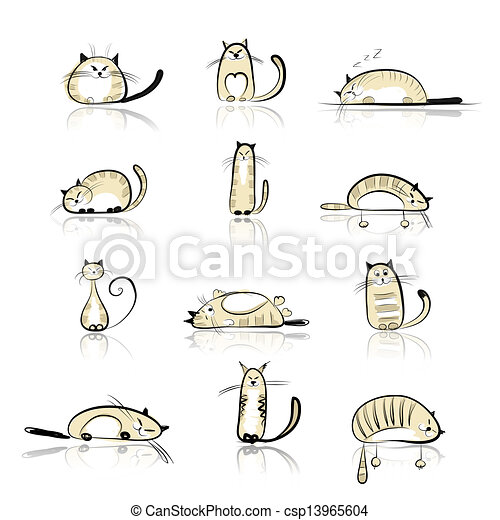Funny cats collection for your design - csp13965604