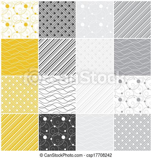 geometric seamless patterns: dots, waves, stripes - csp17708242