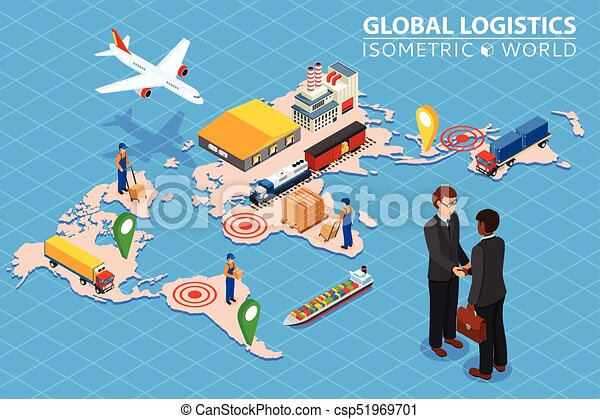 Global logistics network Flat 3d isometric vector illustration Set of air cargo trucking rail transportation maritime shipping. Business concept agreement and cooperation. - csp51969701