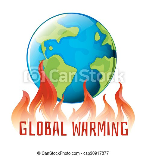 Global warming sign with earth on fire - csp30917877