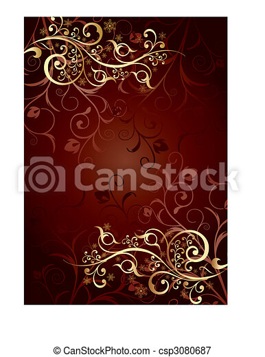 Gold background with curls - csp3080687