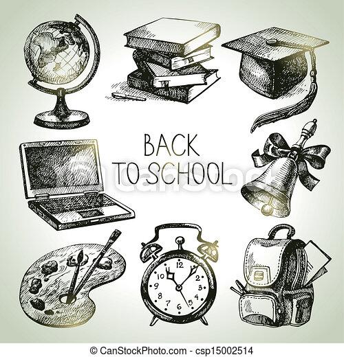 Hand drawn vector school object set. Back to school illustrations - csp15002514