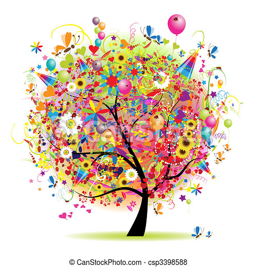 Happy holiday, funny tree with balloons - csp3398588