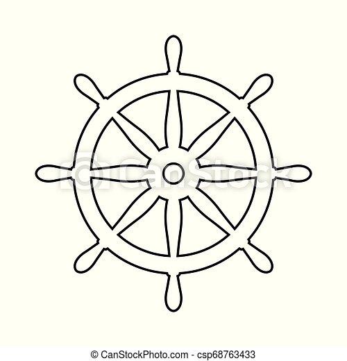 Helm Anchor vector icon logo Nautical maritime sea ocean boat illustration. - csp68763433