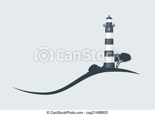 hillside black striped lighthouse vector illustration - csp21498803
