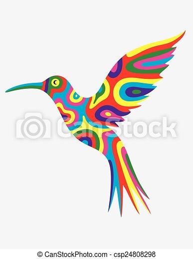 Humming bird abstract colorfully - csp24808298