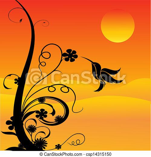 humming bird and flowers - csp14315150