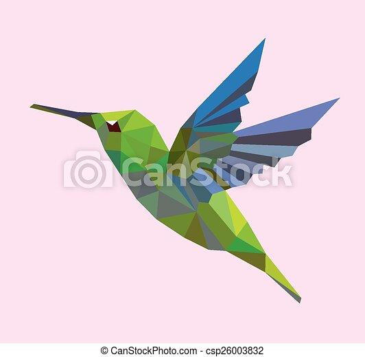 Humming bird low polygon - csp26003832