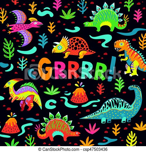 Ink origami dinosaurs with abstract colorful splash seamless pattern. Fun design for background, fabric, wrapping. - csp47503436