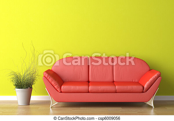 interior design red couch on green - csp6009056