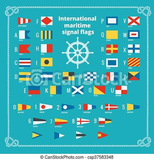 International maritime signal flags. Sea alphabet. Flat vector illustration. - csp37583348