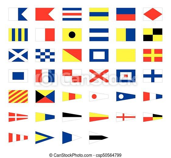 International maritime signal nautical flags, isolated on white background - csp50564799