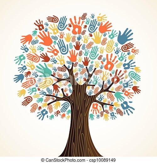 Isolated diversity tree hands - csp10089149