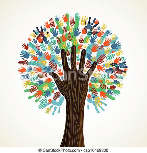Isolated diversity tree hands - csp10469308