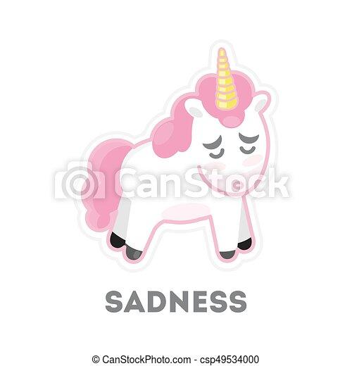 Isolated sad unicorn. - csp49534000