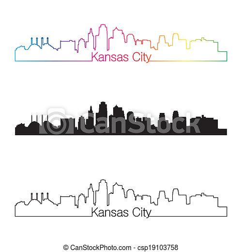 Kansas City skyline linear style with rainbow - csp19103758