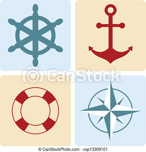 maritime symbols: anchor, life buoy, the wind rose, the steering wheel - csp13309101