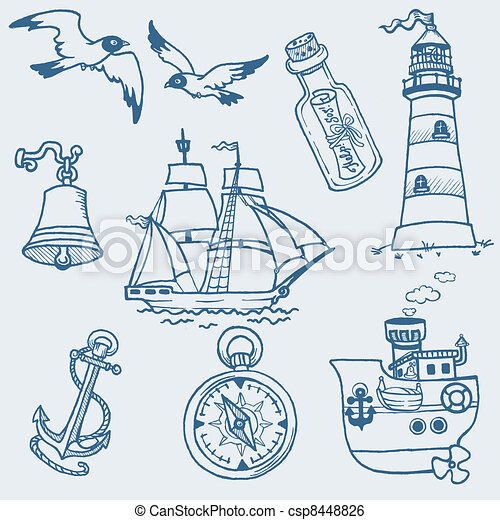 Nautical doodles - Hand drawn collection in vector - csp8448826
