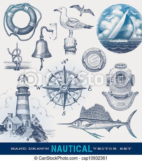 Nautical hand drawn vector set - csp10932361