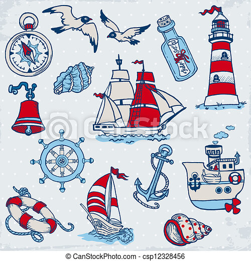 Nautical Sea Design Elements - for scrapbook and design in vector - csp12328456