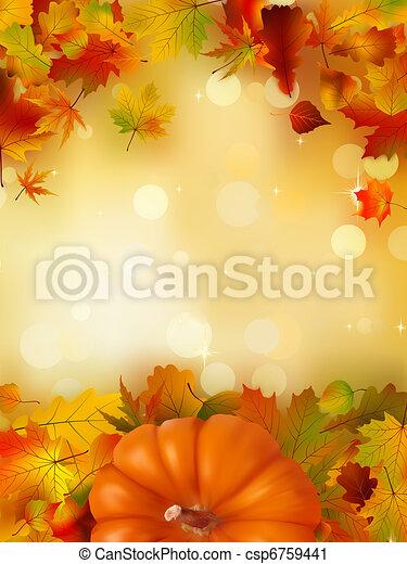 Orange Pumpkin on elegant gold bokeh. EPS 8 - csp6759441