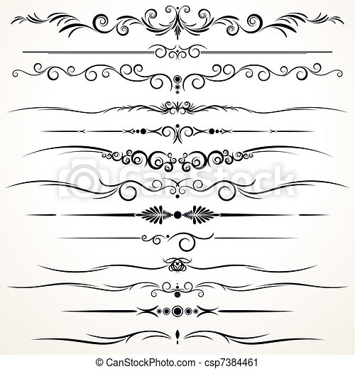 Ornamental Rule Lines in Different Design - csp7384461
