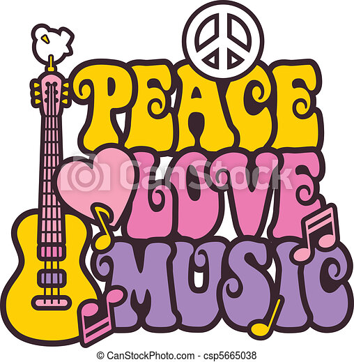 Peace Love Music in Bright Colors - csp5665038