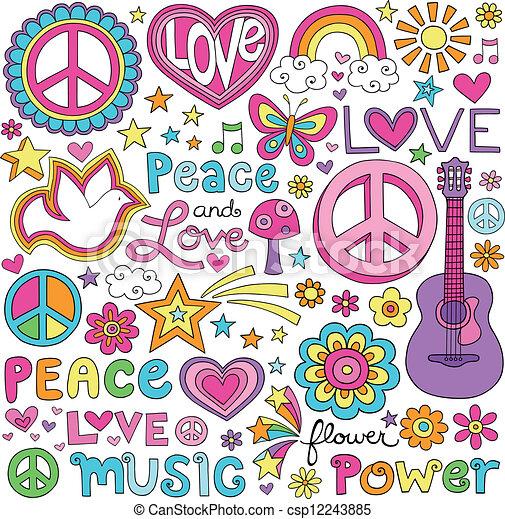 Peace Love Music Notebook Doodles - csp12243885