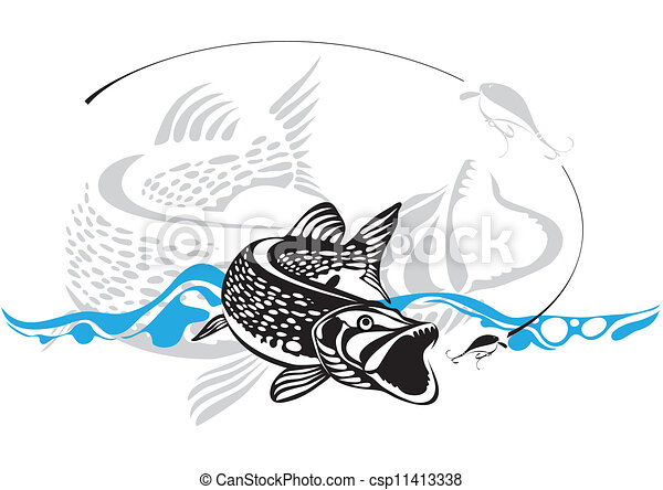 pike, fishing lure, vector illustra - csp11413338