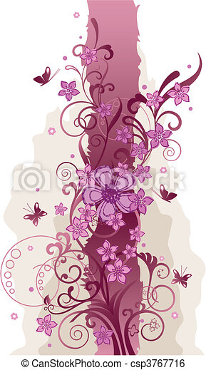 Pink flowers and butterflies border - csp3767716