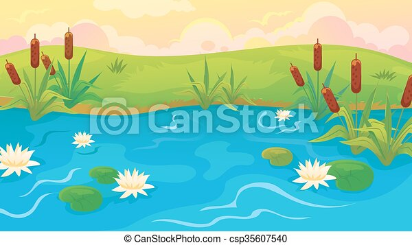 Pond With Reeds And Lilies - csp35607540