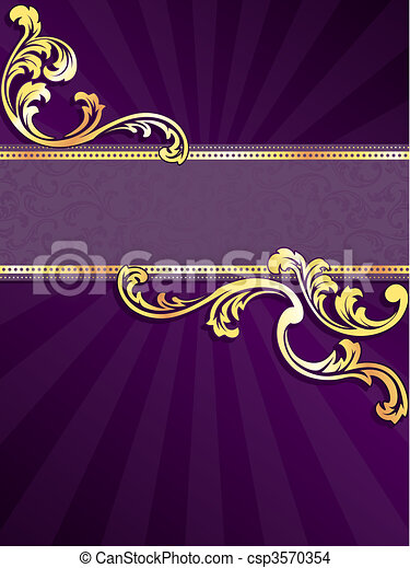 Purple and gold vertical banner - csp3570354