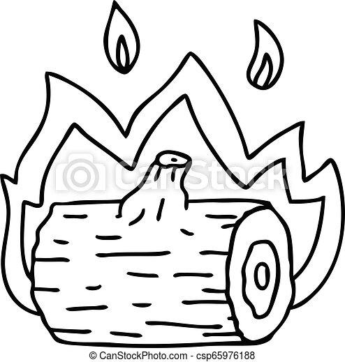 quirky line drawing cartoon campfire - csp65976188