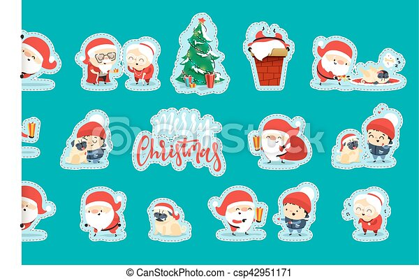 Quirky Santa Claus Funny Christmas characters in flat style. - csp42951171