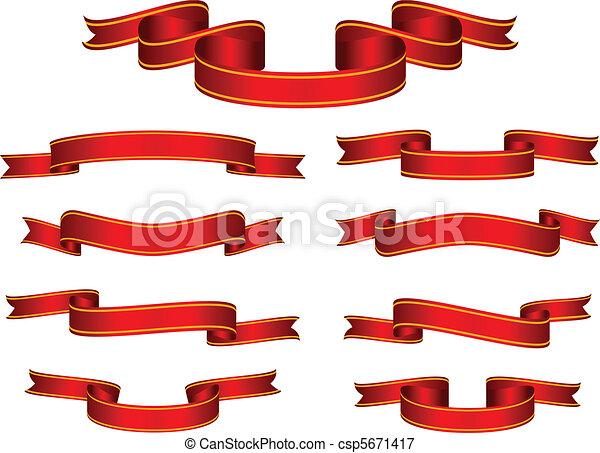 Red Banner Ribbon Set Vector - csp5671417