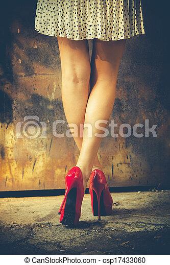 red high heel shoes - csp17433060