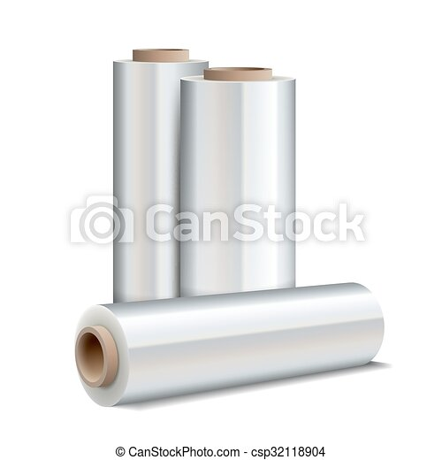 Roll of wrapping plastic stretch film - csp32118904