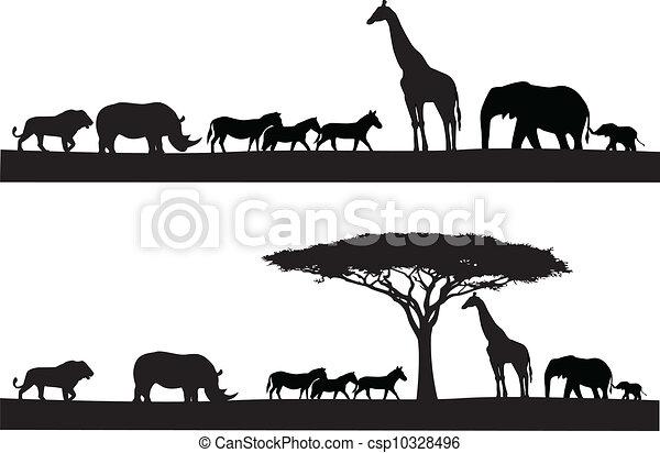Safari animal silhouette - csp10328496