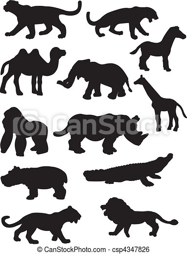 Safari Animal silhouettes - csp4347826