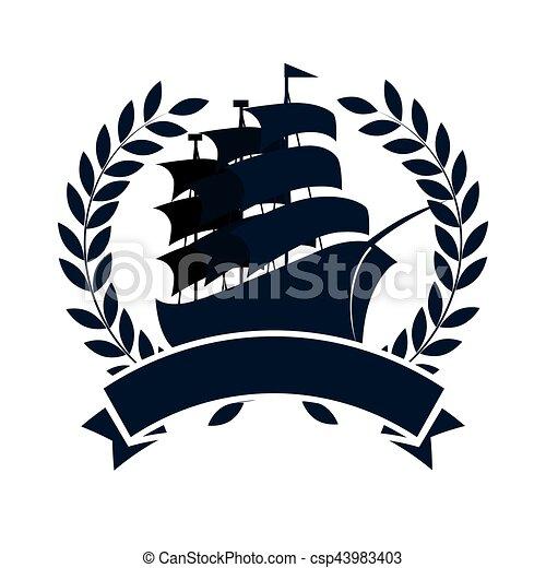 sailboat maritime emblem icon - csp43983403