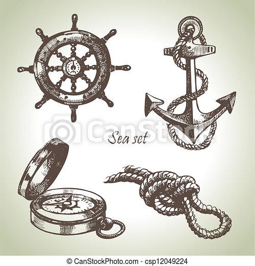 Sea set of nautical design elements. Hand drawn illustrations - csp12049224