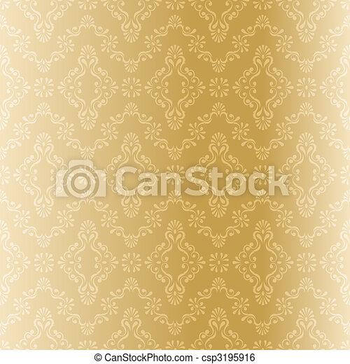 Seamless gold filigree pattern - csp3195916