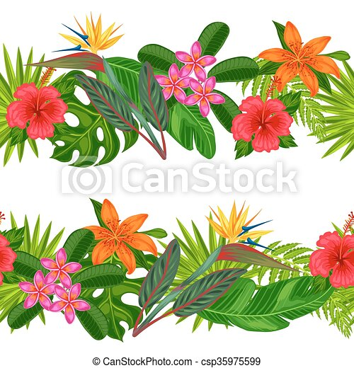 Seamless horizontal borders with tropical plants, leaves and flowers. Background made without clipping mask. Easy to use for backdrop, textile, wrapping paper - csp35975599