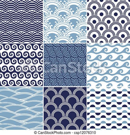 seamless ocean wave pattern - csp12076310
